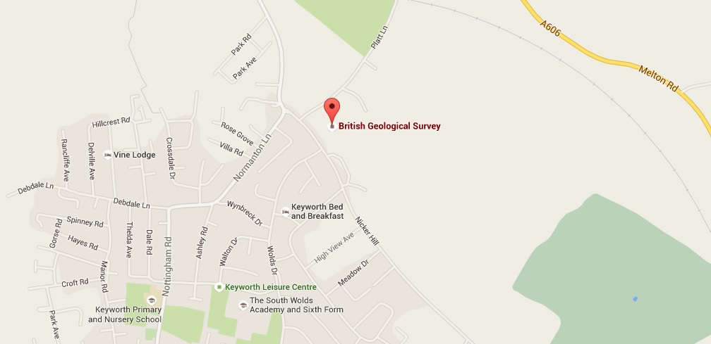 Location of BGS in Keyworth (Google Maps)