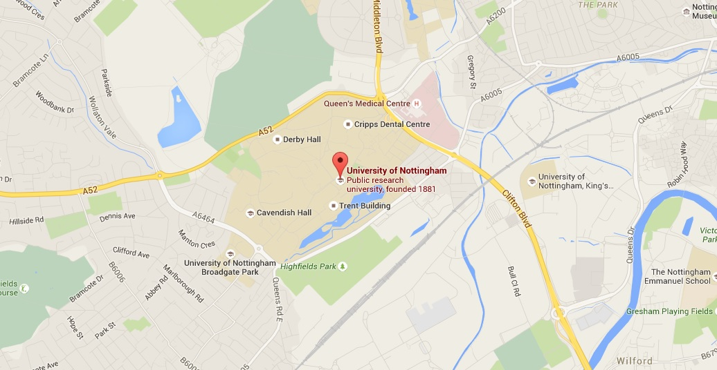 Location of University Park Campus at the University of Nottingham (Google Maps)